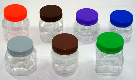 PET food jars, plastic containers